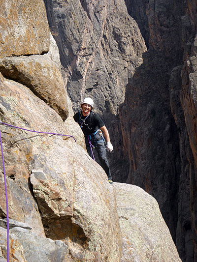 """Jack Cody sends the last crux pitch on """"Stoned Oven"""" (V 5.11+) in the Black Canyon of the Gunnison. Photo by Derek Franz."""