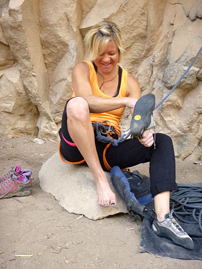 """Wendy Williams gears up moments before her transcendent moment on """"Eurotrash"""" (5.13b) at Rifle Mountain Park. Photo by Derek Franz."""