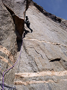 "Jack Cody fires the enduro corner on ""Stoned Oven"" (V 5.11+) in The Black Canyon of the Gunnison National Park. Derek Franz photo."
