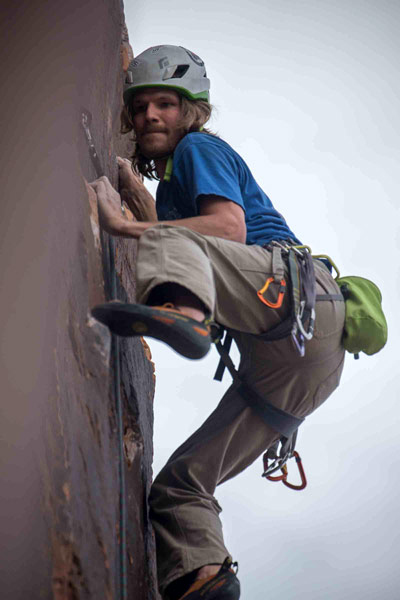 The author onsights Fernando (5.11b) in Moab, five months after open-heart surgery. Photo by Gregg Trawinski.