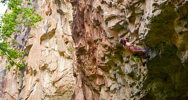 The author sends Families are Forever, an obscure 5.12d in Rifle Mountain Park. Photo by Mike Humphries.