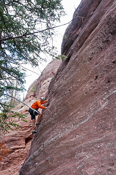 Dave Meyer on a new route at a new cliff in Redstone, CO.