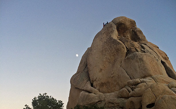 Magical light as the moon comes up over Intersection Rock.